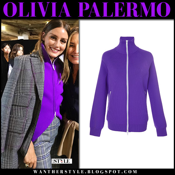 Olivia Palermo in grey plaid coat and purple zip jacket tibi nyfw style september 9