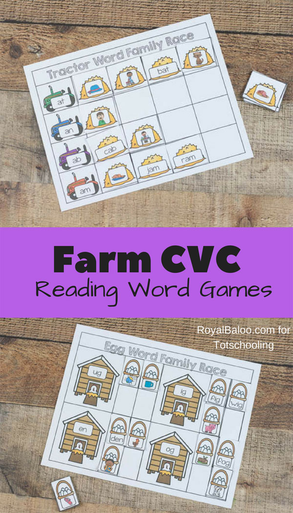 Farm CVC Word Family Games Totschooling - Toddler, Preschool