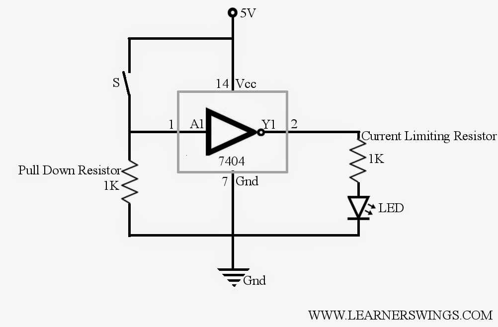 Control 7404, NOT Gate IC, using Switch « Funny Electronics