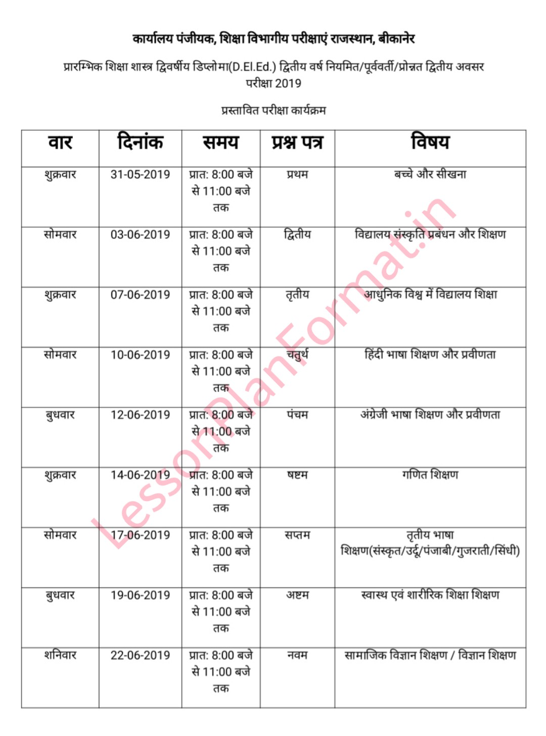 D El Ed Second Year Time Table 2019