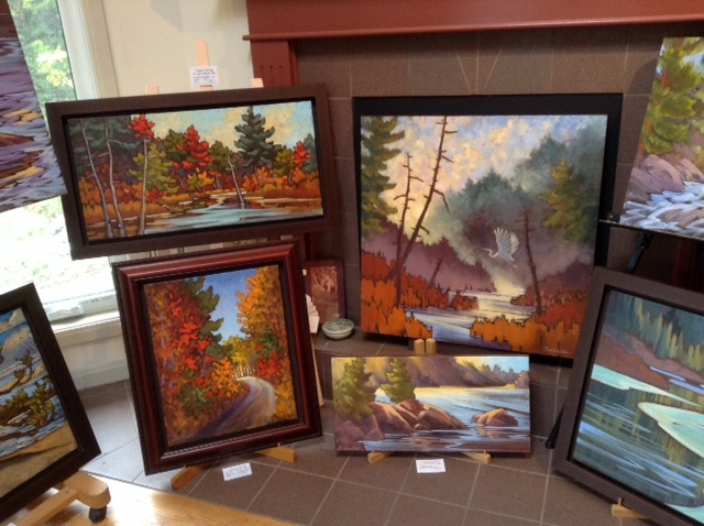 Paintings of Algonquin Park in Joyce Burkholder's studio