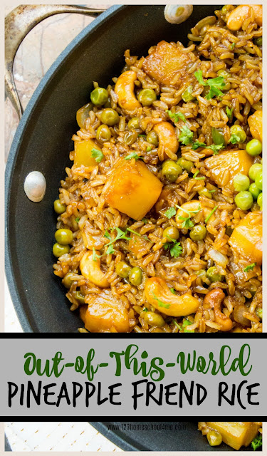 Pineapple Fried Rice - you are gong to love this out-of-this-world rice recipe! It is easy to make, super yummy, hearty, and full of healthy ingredients! This makes a great one dish lunch or side dish.