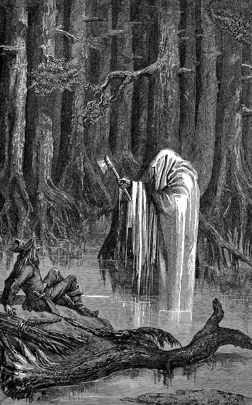 an Ernest Griset illustration of a swamp ghost