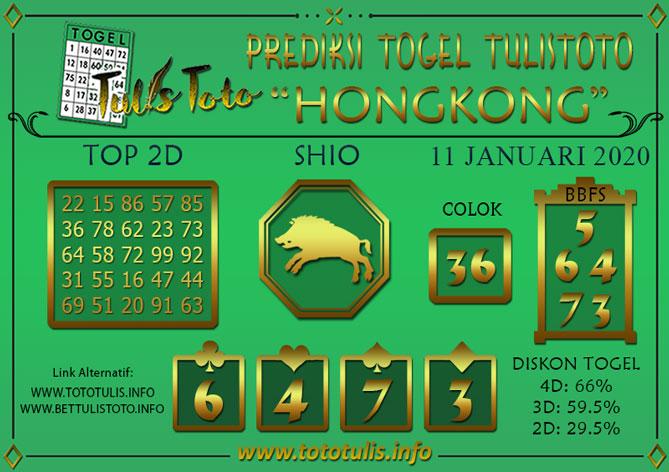 Prediksi Togel HONGKONG TULISTOTO 11 JANUARI 2020