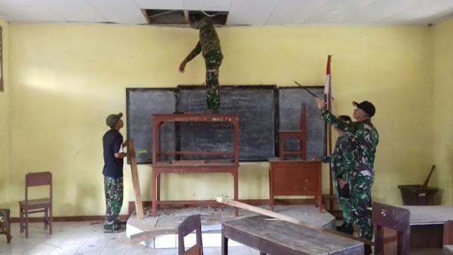 Satgas YL 431/SSP Bantu Rehab SD Inpres di Papua