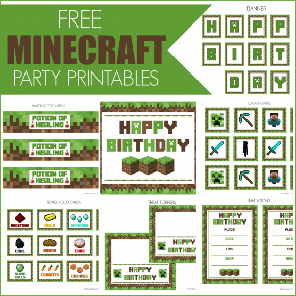 It is a picture of Minecraft Free Printable Food Labels inside party