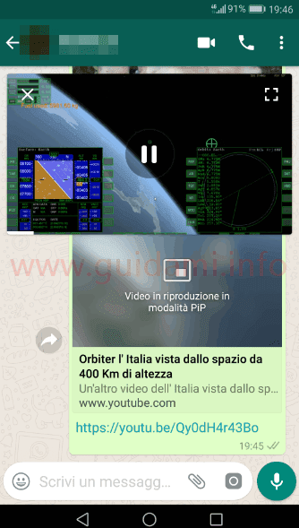 WhatsApp video in modalità PiP dentro la chat