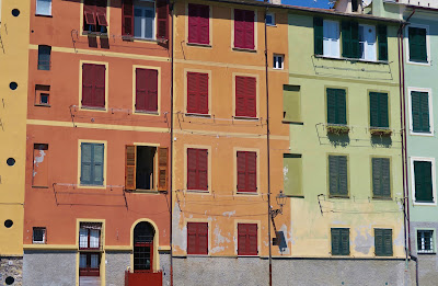 Colorful Ligurian buildings overlooking Trelo beach, San Michele di Pagana, Rapallo.