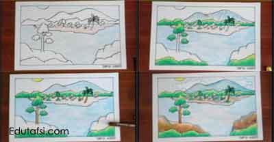 Tutorial cara menggambar pemandangan kampung nelayan untuk pemula step by step dikompleksi CARA MENGGAMBAR PEMANDANGAN KAMPUNG NELAYAN DENGAN OIL PASTELS