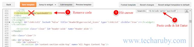 Remove quick edit icon