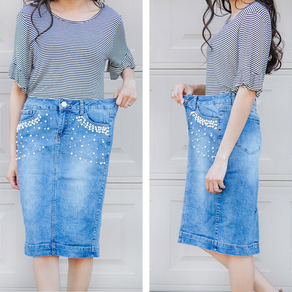 too big denim skirt waistband before photos