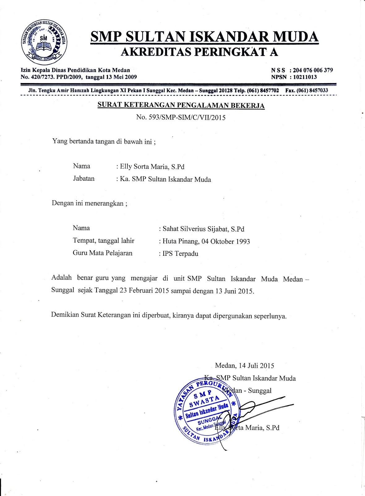 surat keterangan pengalaman kerja dari smp sultan iskandar