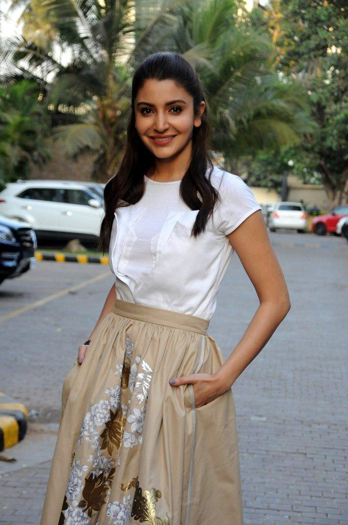 Actress Anushka Sharma At New Movie Promotion In White Dress