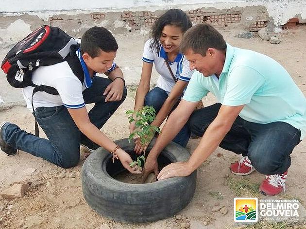 Secretaria de Meio Ambiente realiza plantio de mudas em escolas e praças de Delmiro Gouveia