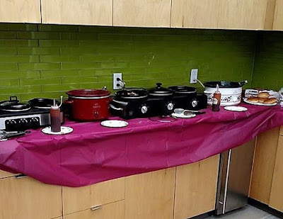 bring your crockpot slow cooker to work and have an office party in style! What a fun work party idea!