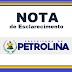 """O PETRAPE não irá mais gerenciar o """"Nova Semente"""". Esclarece em nota, a prefeitura de Petrolina; Confira"""
