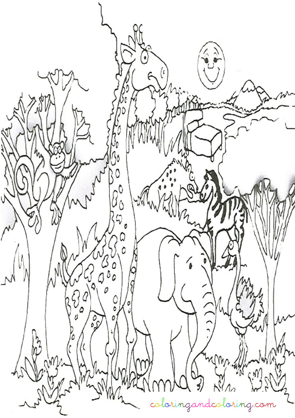 Jungle animals coloring coloring pages for Safari coloring pages