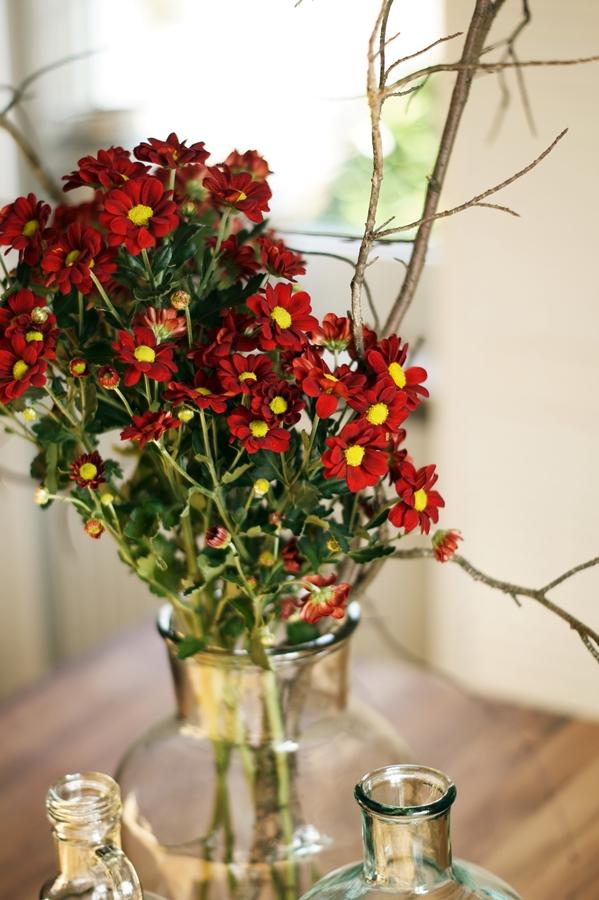 Blog + Fotografie by it's me! - dunkelrote Chrysanthemen und Zweige, Glasflaschen