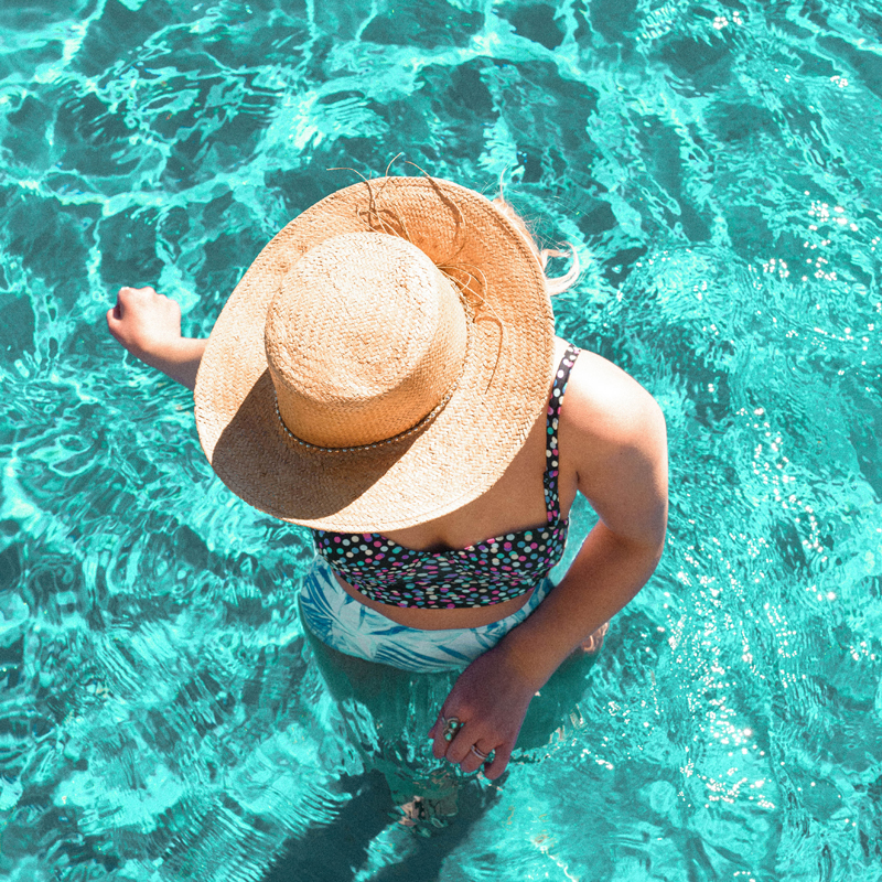 straw hat, beach hat, pool photo