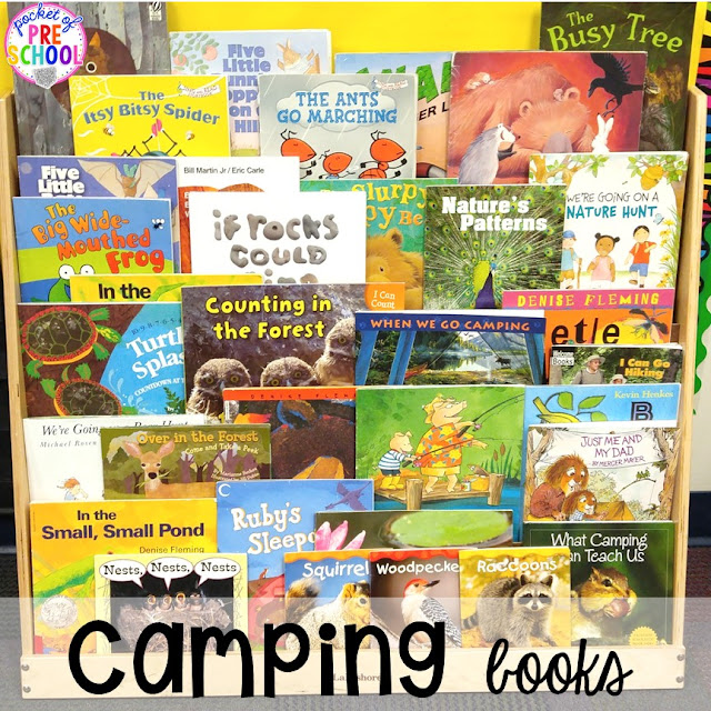 Camping themed centers and activities for preschool, pre-k, and kindergarten students. Fun to do in the fall or spring!