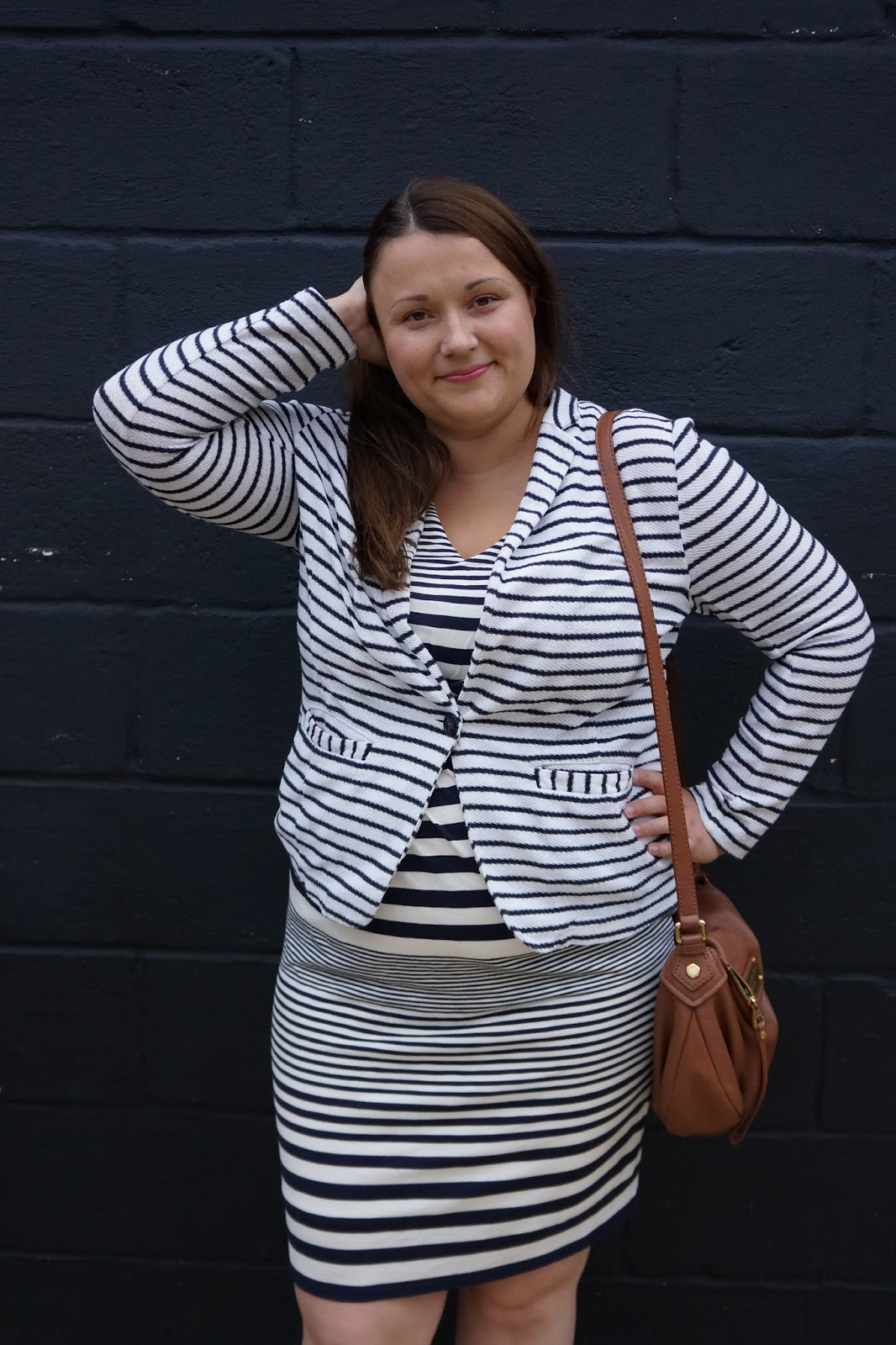 outfit picture with striped jersey blazer and striped dress