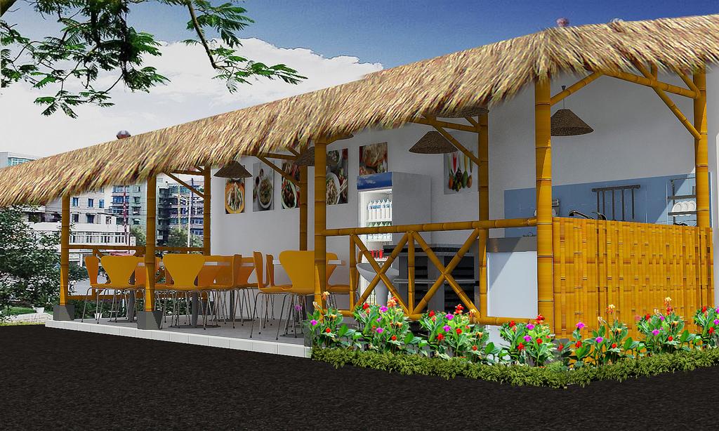 desain cafe bambu