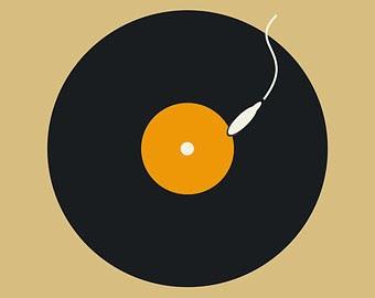 Ilustración minimalista con vinilo y espermatozoide