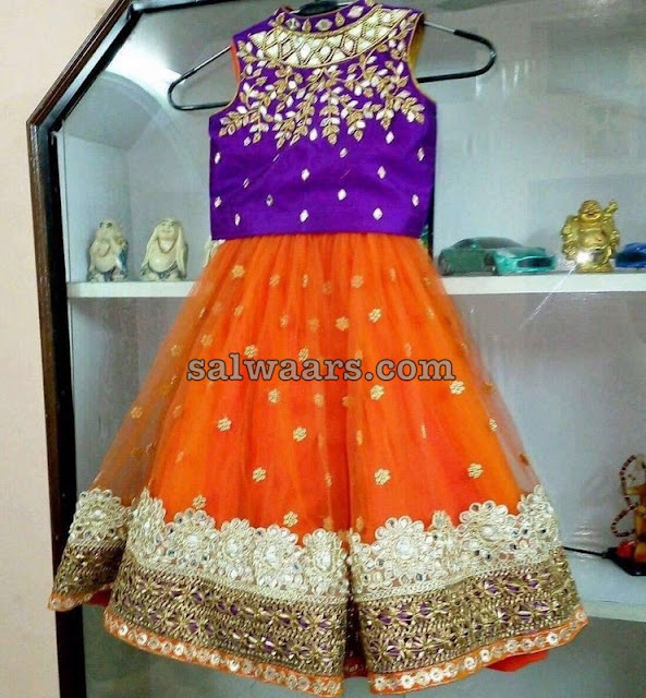 Mirror Blouse Orange Lehenga