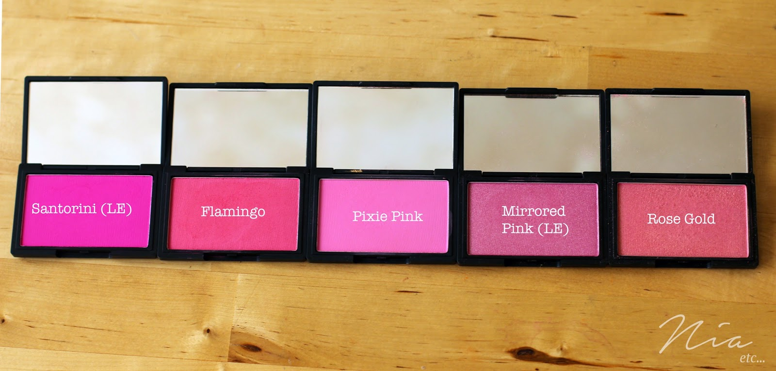 Sleek MakeUp Blushers in Santorini, Flamingo, Pixie Pink, Mirrored Pink and Rose Gold