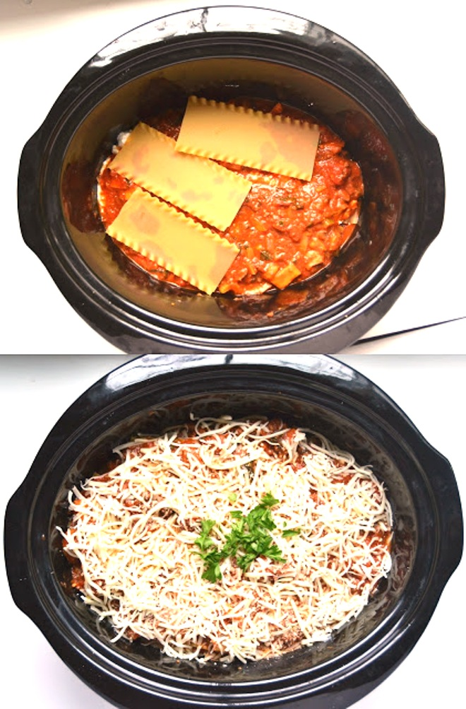 This Slow Cooker Veggie Loaded Lasagna is so simple- no boiling or baking required! Loaded with fresh vegetables for a nutritious dinner! www.nutritionistreviews.com