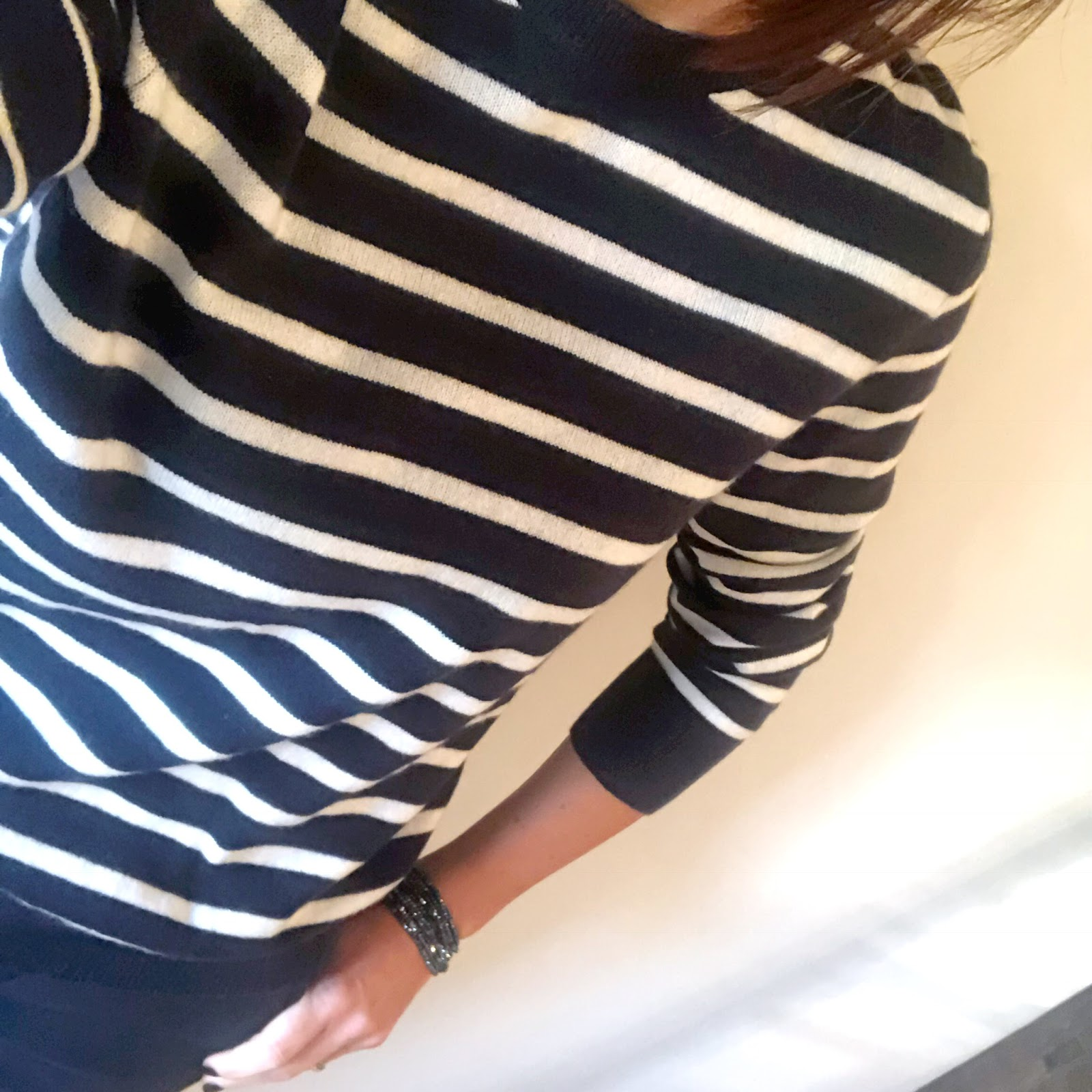 my midlife fashion, marks and spencer pure cashmere striped ribbed round neck jumper, zara gold button trousers, marks and spencer stiletto heel side zip ankle boots