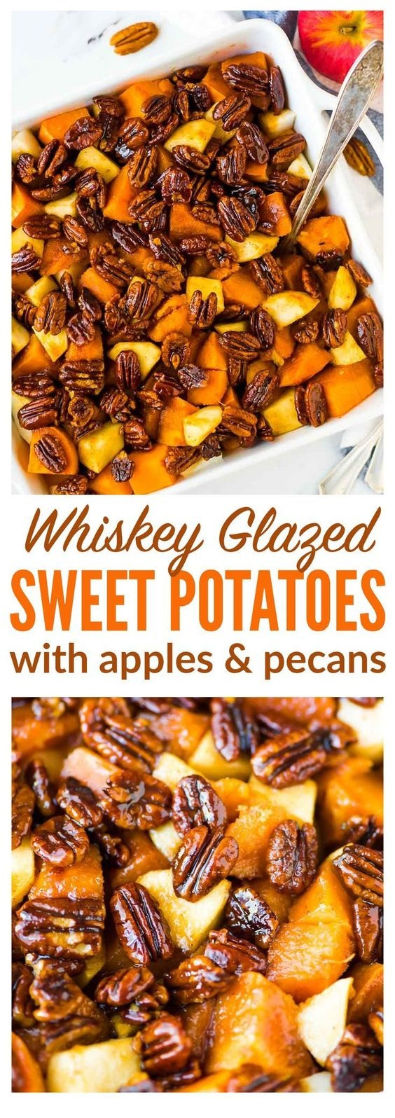Glazed Sweet Potatoes with Whiskey Pecans