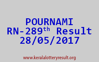 POURNAMI Lottery RN 289 Results 28-5-2017