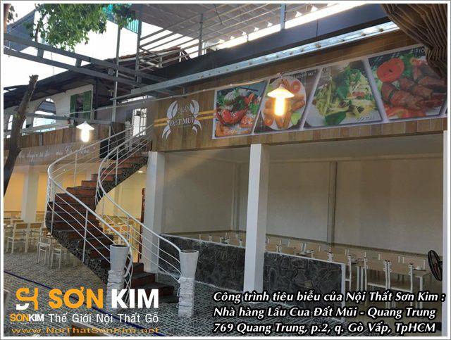 Công trình bàn ghế nhà hàng tại Lẩu Cua Đất Mũi Quang Trung - Gò Vấp