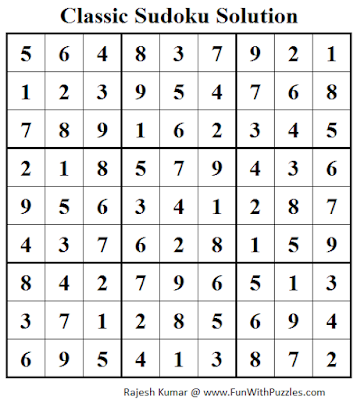 Classic Sudoku (Fun With Sudoku #43) Solution