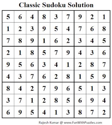 Classic Sudoku (Fun With Sudoku #43) Solution