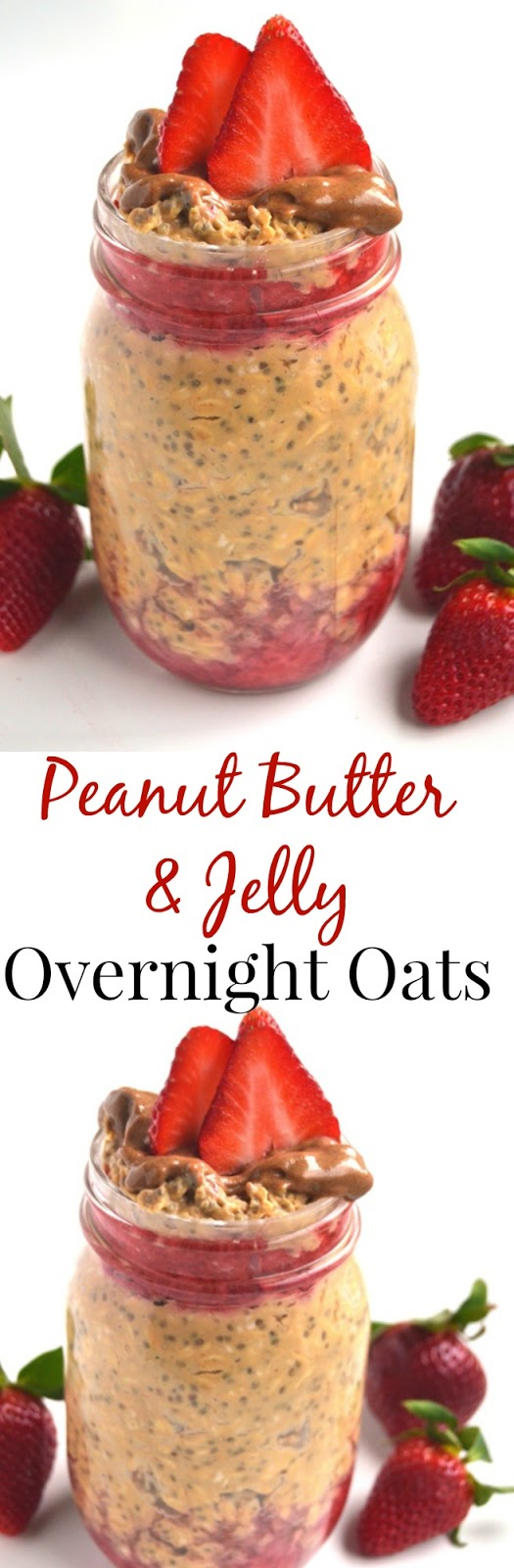 Peanut Butter and Jelly Overnight Oats take 5 minutes of prep time the night before and you will have a delicious breakfast ready to go in the morning! www.nutritionistreviews.com