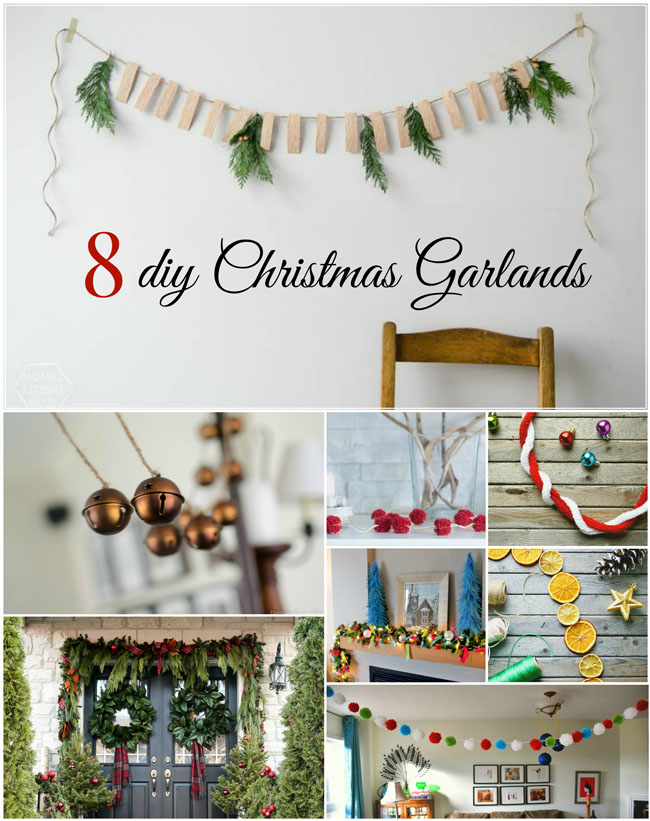 8 diy Christmas garlands - make your own simple, inexpensive & festive holiday garlands with these ideas from crafty bloggers! #fun #Christmas #festive #decor #decorating #garland #diy #crafts #kidscrafts #idea #tutorial