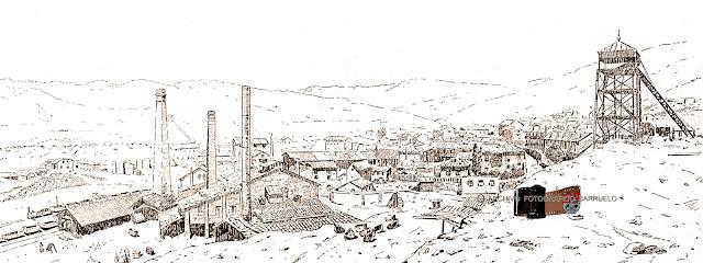 Grabado en el que se ve el Pozo Bárbara, Barruelo al fondo y el cerco industrial a la izquierda.