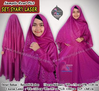 Gamis embos balotelli terbaru set hijab syar'i variasi laser