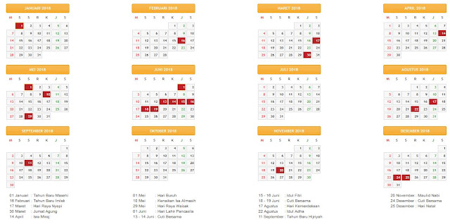 Kalender Tahun 2018