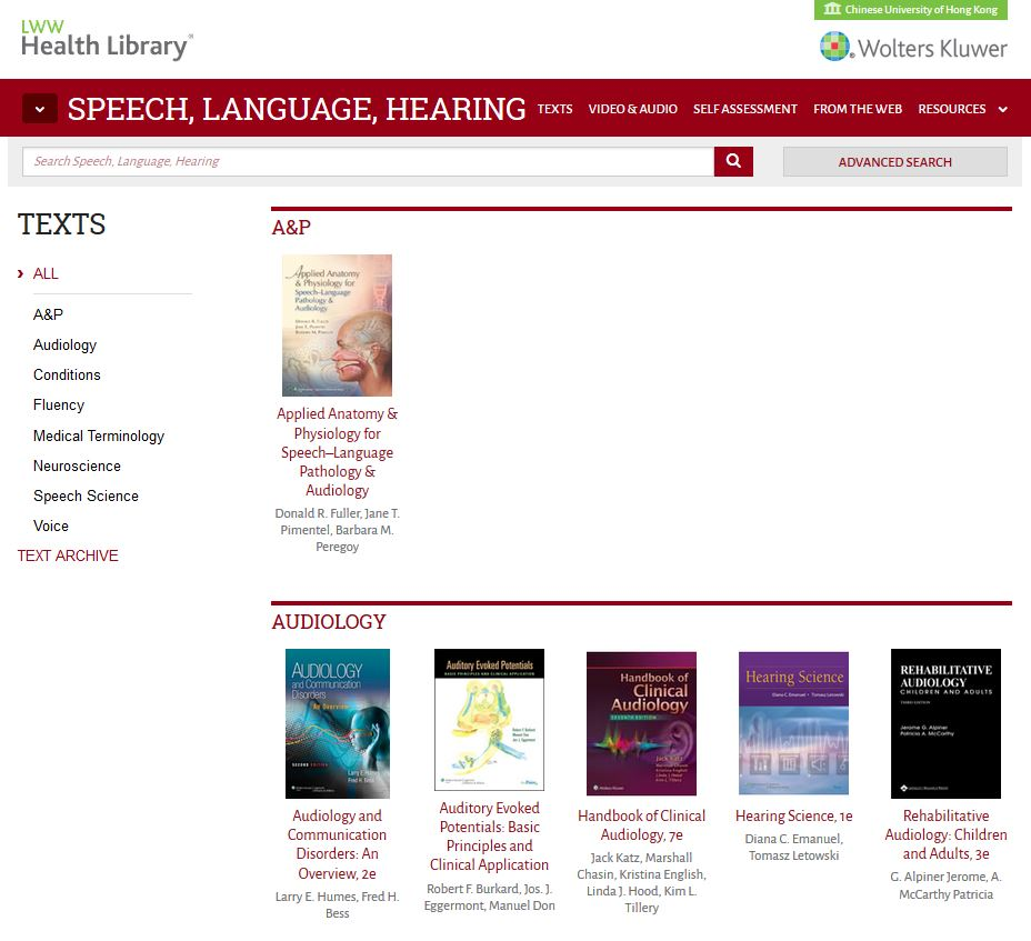 Li Ping Medical Library @ CUHK: LWW Health Library for Speech ...