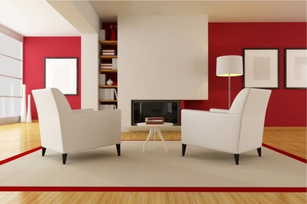 decoración sala rojo blanco