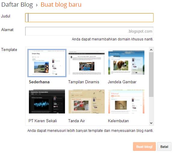 cara membuat blog baru di blogspot gratis