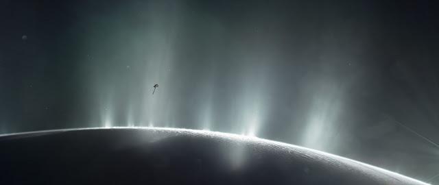 Illustration of Cassini Spacecraft Diving Through Plume of 'Ocean World' Enceladus