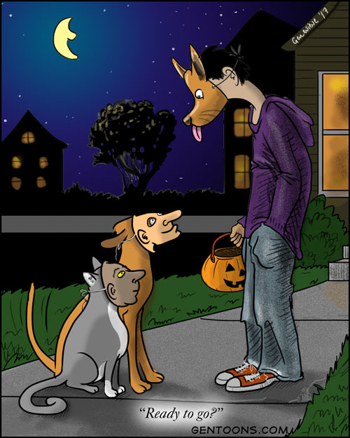 a human wearing a dog mask is looking at a cat and a dog who are each wearing human masks.