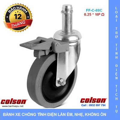 Bánh xe chống tĩnh điện Colson Mỹ trục trơn có khóa phi 125 (5 inch) banhxedayhang.net