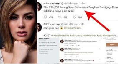 Kicauan Nikita Mirzani Hina Panglima TNI Soal G30S/PKI