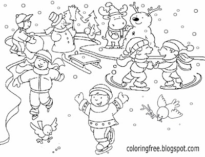 Chilly temperature fun outdoor winter sports on the frozen pond ice skating cool printables for kids