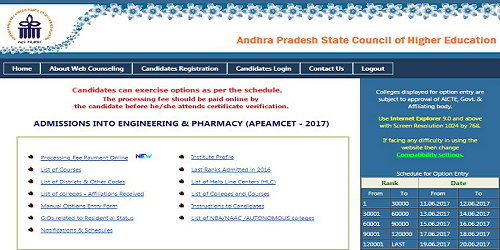 AP EAMCET 2017 Certificate Verification & Option Entry Schedule